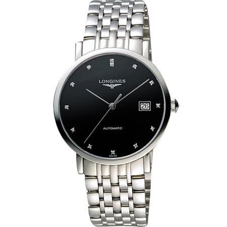 LONGINES Elegant 優雅系列真鑽機械腕錶-黑/39mm L49104576