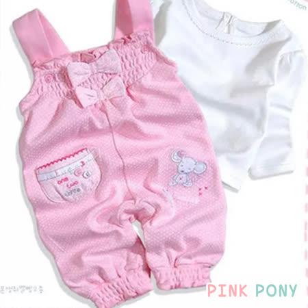 【Pink Pony】春秋粉色點點小老鼠吊帶褲+白色T恤套裝