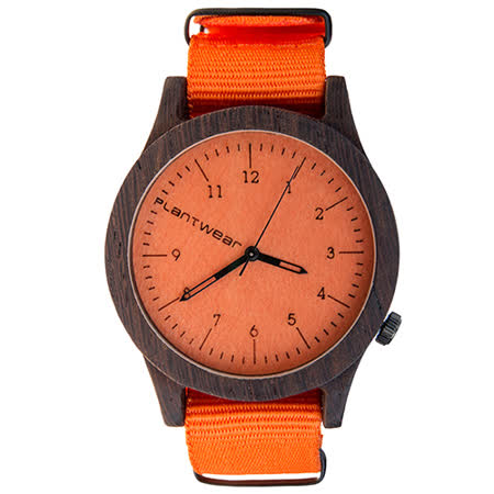 Plantwear 歐洲手工製實木手錶-Heritage series-活力橙-黑檀木(42mm)