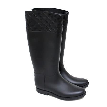 【Pretty】經典霧面菱格紋長筒雨靴