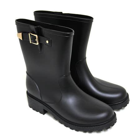 【Pretty】雨天首選霧面金屬扣鐶中筒雨靴