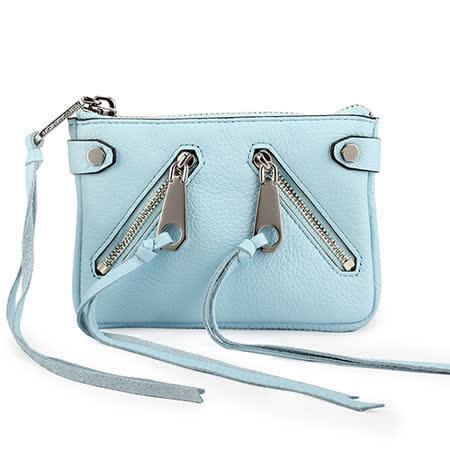 Rebecca Minkoff moto 質感皮革流蘇裝飾拉鍊零錢包-粉藍色