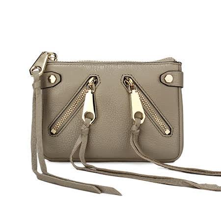 Rebecca Minkoff moto 質感皮革流蘇裝飾拉鍊零錢包-咖啡色