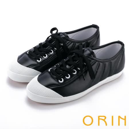 ORIN 休閒舒適 質感綁帶車線休閒平底鞋-黑色
