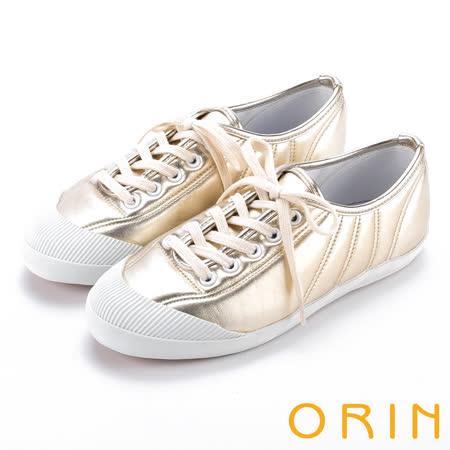 ORIN 休閒舒適 質感綁帶車線休閒平底鞋-金色