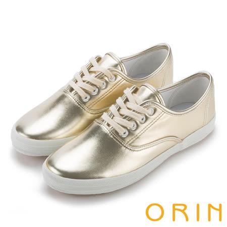 ORIN 休閒舒適 百搭素面綁帶休閒平底鞋-金色