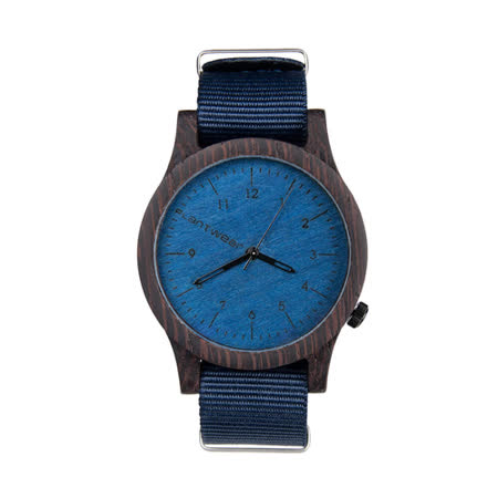 Plantwear 歐洲手工製實木手錶-Heritage series-寶石藍-黑檀木(42mm)