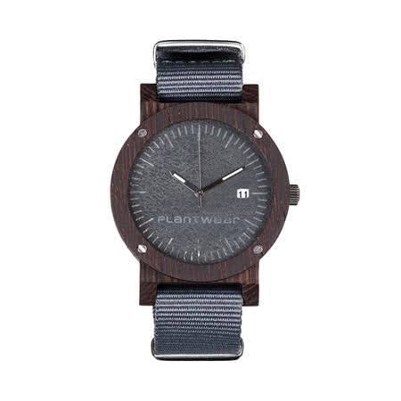 Plantwear 歐洲手工製實木手錶-Raw series-沉穩灰-黑檀木(42mm)