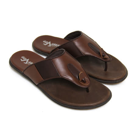 【GREEN PHOENIX】經典樸實極簡素面雙色全真皮平底夾腳男拖鞋(男款)