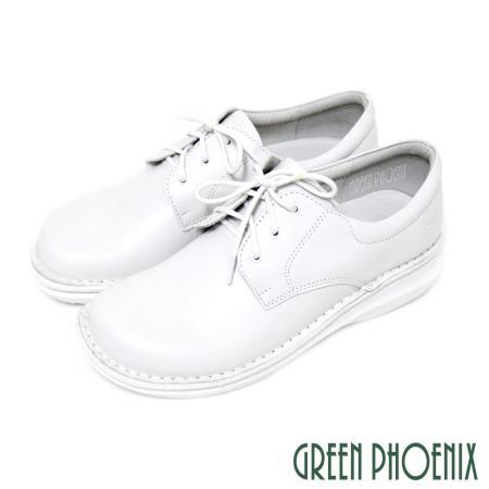 【GREEN PHOENIX】優質真皮素面綁帶護士鞋