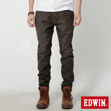 EDWIN 特大碼 迦績褲 E-F磨毛窄直筒色褲-男-橄欖綠