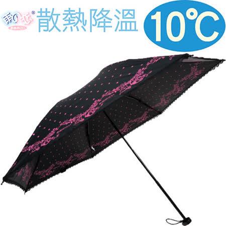 獨家降溫10℃手開水玉玫瑰 【時尚黑 】 輕量/遮陽傘/雨傘/雨具/晴雨傘◆日本雨之戀◆