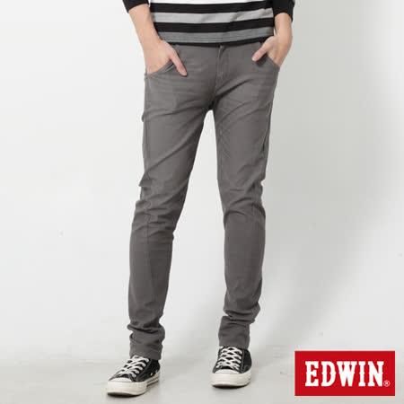 EDWIN 特大碼 迦績褲 E-F磨毛窄直筒色褲-男-灰色