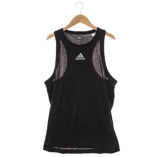 Adidas^(男^)慢跑背心 黑S13641