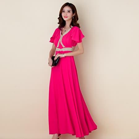 【白色戀人中大尺碼】玫紅色繡珠荷葉袖長款晚禮服