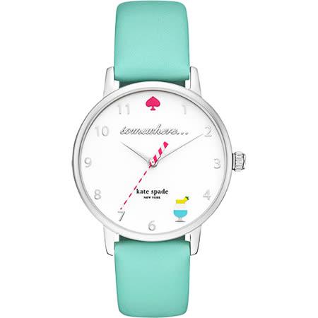Kate Spade Merto 歡樂派對石英腕錶-白x綠/34mm KSW1104