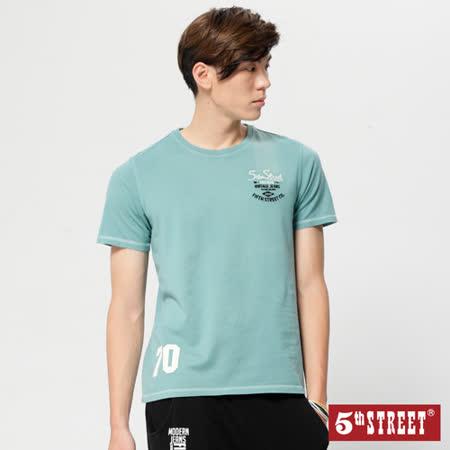 5th STREET 後染繡花短袖T恤-男-綠色