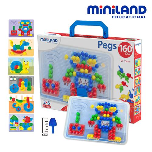 ~西班牙Miniland~1.5CM中拼豆幼童160顆學習組附透明板圖卡