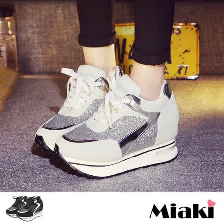 【Miaki】慢跑鞋韓時尚運動亮片綁帶內增高厚底包鞋 (白色 / 黑色)