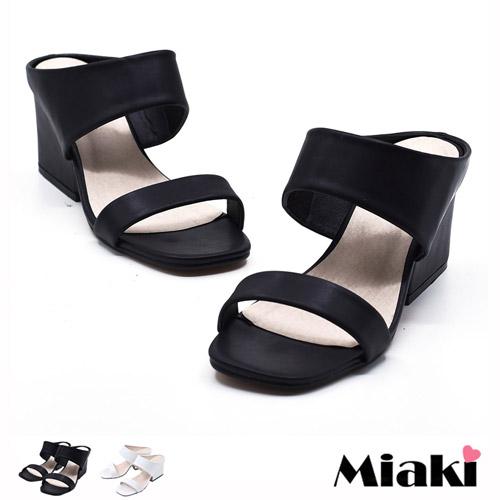 ~Miaki~涼鞋韓簡約寬帶露趾低跟涼拖 ^(白色 黑色^)