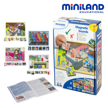 【西班牙Miniland】情境學習磁鐵板-環保資源組