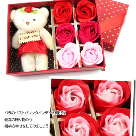 小熊玫瑰生日會情人節6朵玫瑰禮盒