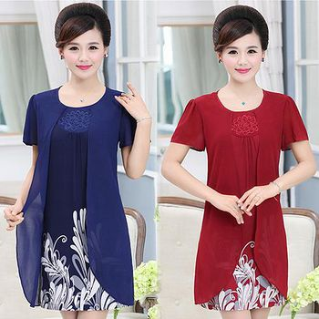 Will 首爾 (預購)KBN1392優雅氣質印花短袖雪紡洋裝 (紅/藍)