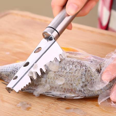PUSH!廚房用品加厚304不銹鋼刨魚鱗器殺魚刮魚刀刮鱗器去魚鱗工具D68