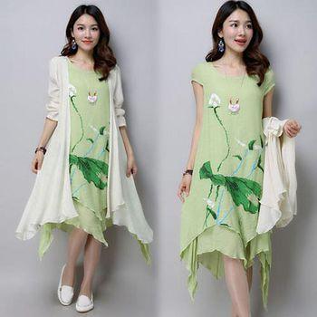 韓國KW (預購)KQ243中國風印花不規則連身裙套裝 -綠