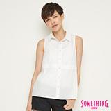 SOMETHING 簡約氣質無袖襯衫-女-白色