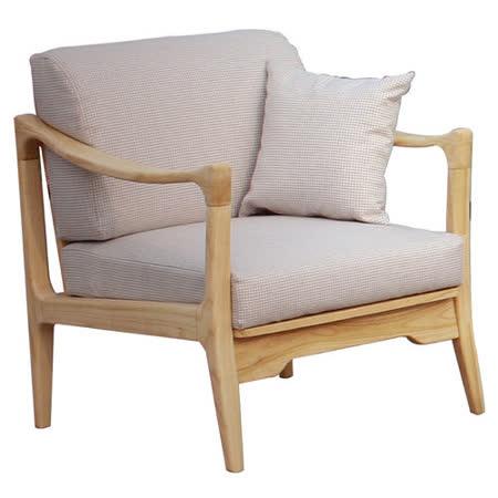 【幸福屋】 傑利兒2.6尺原木淺灰布單人沙發