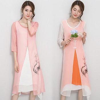 韓國KW (預購)KQ228中國風水墨畫印花盤扣連身兩件套裝 (粉紅/白)