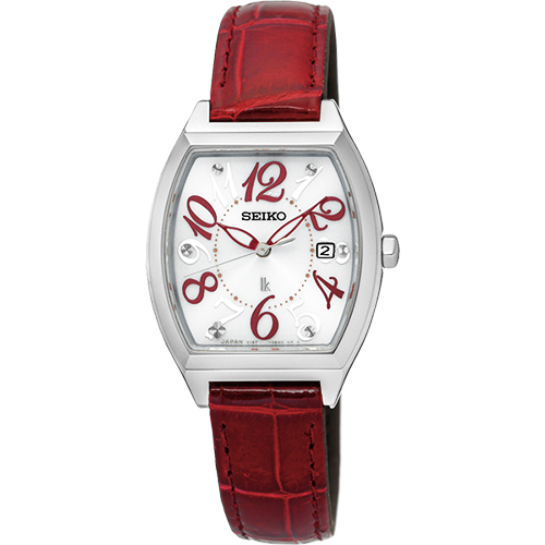 SEIKO LUKIA 遇見時刻太陽能女錶~白x紅色錶帶26mm V137~0CE0R^(