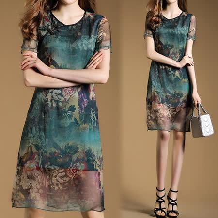 【歐風KEITH-Will】復古印花中式短袖雪紡洋裝