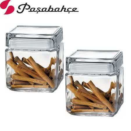土耳其Pasabahce玻璃磚塊形儲物罐750cc-二入組