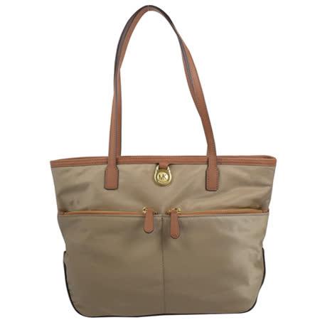MICHAEL KORS 經典LOGO尼龍皮飾邊肩背購物包.深卡其