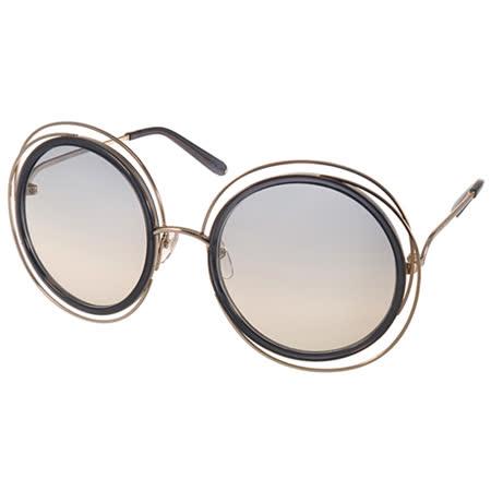 Chloe 太陽眼鏡 復古元素細緻金屬框款 (透黑-金) #CL120S 731