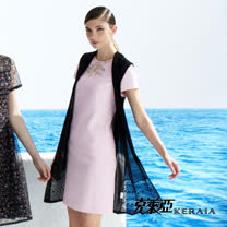 【克萊亞KERAIA】領口亮鑽蝶結短袖洋裝