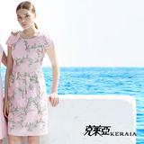 【克萊亞KERAIA】優雅繡花格狀短袖洋裝
