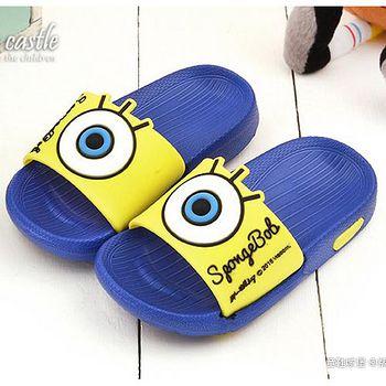 童鞋城堡 海綿寶寶 中小童 大icon設計輕量拖鞋SG2735 藍