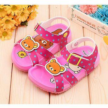 童鞋城堡 拉拉熊 中童 軟木風格涼鞋KM3924 桃