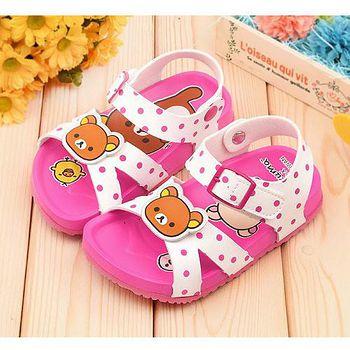 童鞋城堡 拉拉熊 中童 軟木風格涼鞋KM3924 白