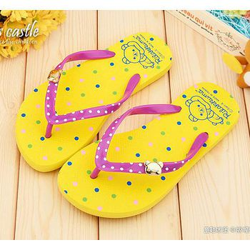 童鞋城堡 拉拉熊 女款 點點風夾腳拖鞋KM26012 黃