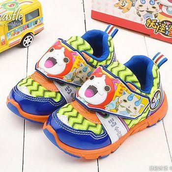 童鞋城堡 妖怪手錶 中大童 吉胖喵造型運動鞋YW6501 藍