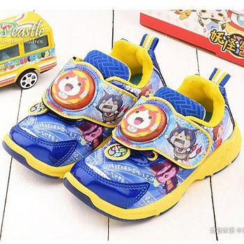 童鞋城堡 妖怪手錶 中大童 吉胖喵電燈運動鞋YW6508 藍