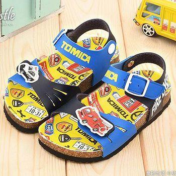 童鞋城堡 Tomica多美小汽車 中小童 軟木風格涼鞋TM3640 藍