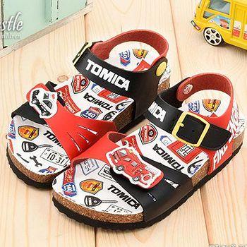 童鞋城堡 Tomica多美小汽車 中小童 軟木風格涼鞋TM3640 黑