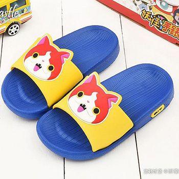 童鞋城堡 妖怪手錶 中小童 大icon設計輕量拖鞋YW2162 藍