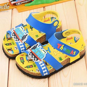 童鞋城堡 湯瑪士 中小童 小火車軟木風格涼鞋TH43018 藍