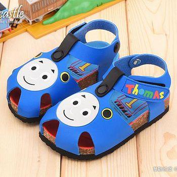 童鞋城堡 湯瑪士 中童 軟木風格造型涼鞋TH43024 藍